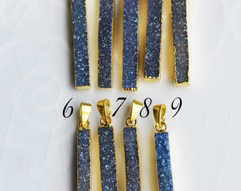 Blue Druzy Pendant, Long Thin Bar Pendant, Electroplated with 24K Gold, B