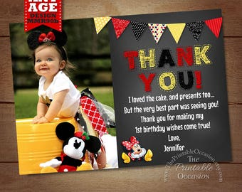 Minnie Mouse Thank You Card, Red Yellow Chalkboard Minnie Thank You Card Note, Minnie Mouse Printable Thank You matches Birthday Invitation