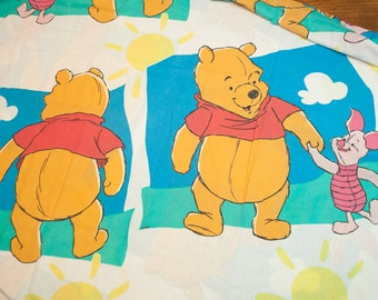 Vintage 90s Disney Winnie the Pooh Twin Flat Bed Sheet - Made in USA