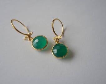 Green Onyx Gold Earrings, Gold Vermeil Bezel Set Green Gemstone Faceted Circle Round Hook Earrings, Angel Wings Detail Earrings