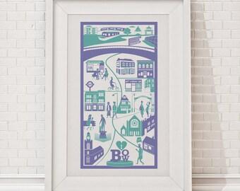 Bow Print / London illustration / East London print