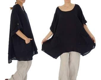 HY500SW2 ladies tunic blouse linen vintage size 2 - portable 48 50 52 54 black