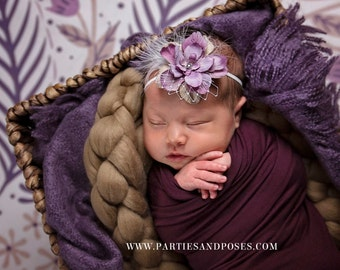 Lovely Lavender Flower Headband, Purple, Headband, Newborn Photo Prop, Baby Photoprop