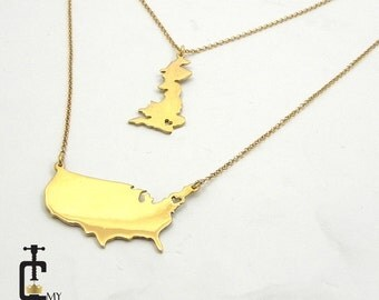 Double chain two countries necklace, Two States Necklace, Any two State or Country Necklace ,Best Friendship Necklace,