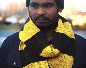Harry Potter Hufflepuff Infinity Scarf Cowl 6 ft long Crochet Clothing Cosplay Costume