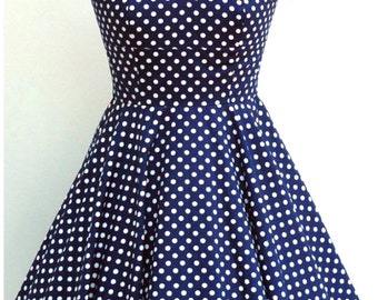 Navy and white polka dot, fifties inspired cotton swing dress, sweetheart neckline, with capped sleeves, UK sizes 6-24