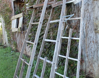 You GET 3 Antique Ladder Backs for Crafts - Rustic Wood Shelf - Crafters Special