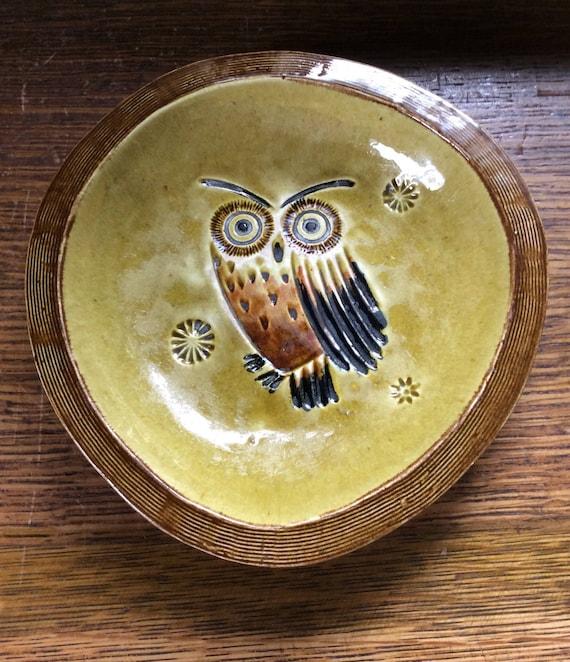 Vintage owl decor from Matlox Poppytrail, California, kitschy vintage owl candy dish, mid century modern decor, poppytrail ceramics