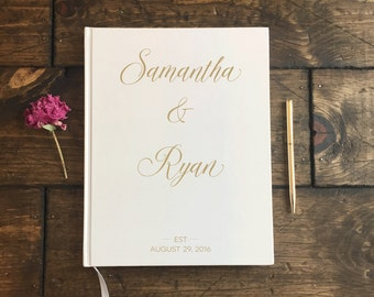 Gold and white Wedding Guestbook. Gold Lettering Wedding Guest Book. Wedding Journal Wedding Album. Wedding Keepsake. Gold Text Guest Book