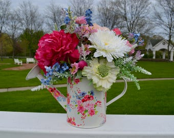 Dark Pink Peony in Watering Can Silk Floral Arrangement, Pink Peony, White Mums, Pansies, Summer Flowers, Faux Flowers