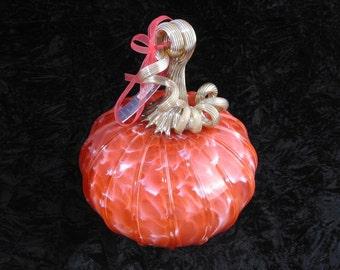 Romantical Pink Hand Blown Glass Pumpkin R111