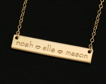Mom Jewelry • Custom Hand Stamped • Child Name Jewelry • Mom Bar Necklace • Mother Necklace • Mom Initial Necklace • 14k Gold Bar Necklace