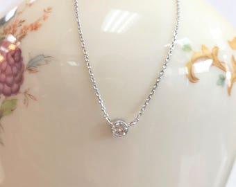 Petite Bezel Set Diamond Necklace -  0.18 Carats - 14 karat white gold