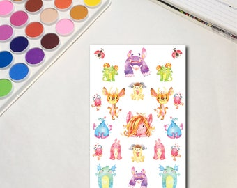 Rainbow Monsters - Decorations Whimsical Watercolor Planner Sticker Sheets, The Ones with Rainbow Monsters Collection