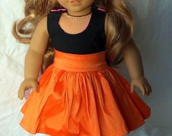 """Orange gathered skirt for 18"""" doll. (Skirt only)"""