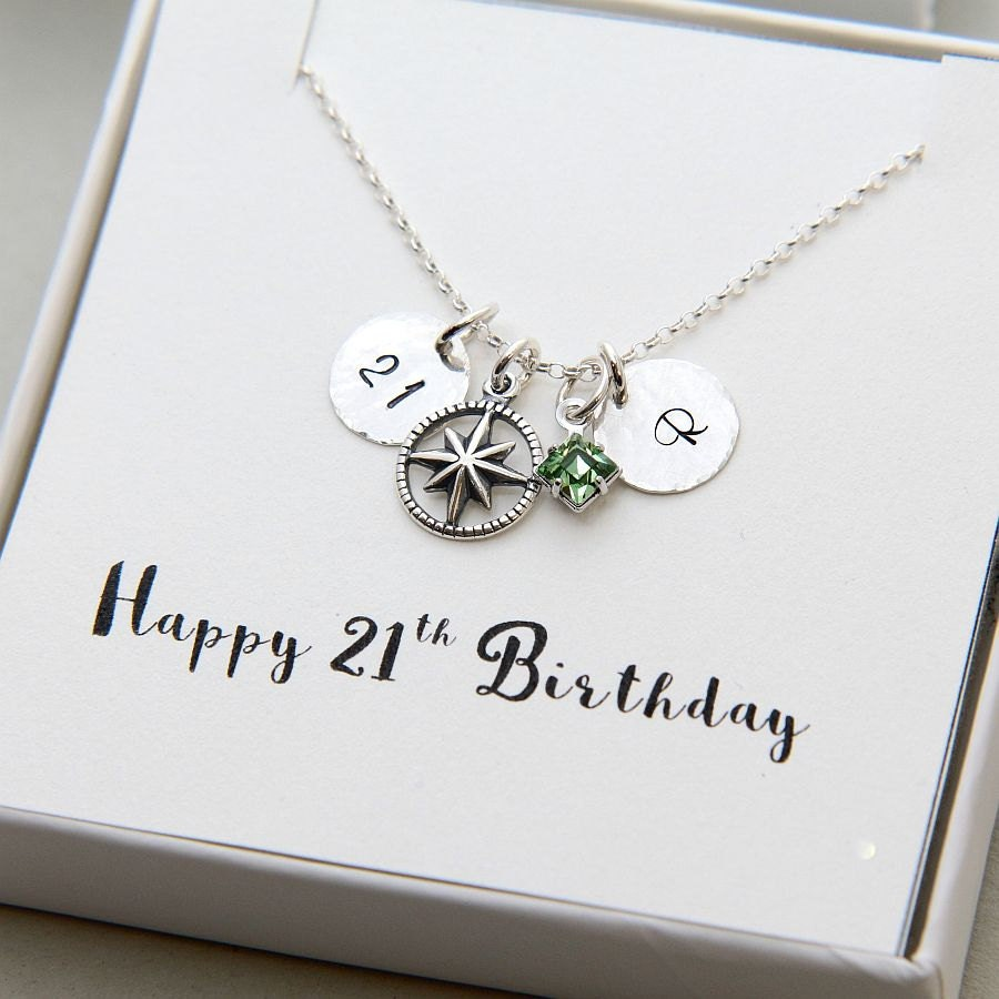 Birthday Necklace Personalized 21st Birthday Necklace 21st