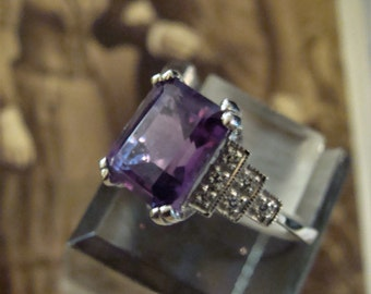 Lovely Sterling Silver Amethyst & CZ Ring Size 6.75