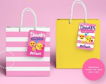 Emoji Thank You Tags, Emoji Birthday Party, Emoji Favors, Emoji bags