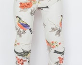 American Girl Doll sized leggings - cream with bird and floral print