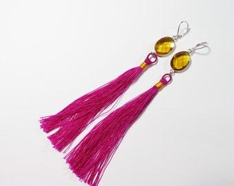 Long Pink Gold Tassel Earrings, Boho Tassel Earrings, Sterling Silver Silk Tassel Earrings, Boho Bohemian Hippie Earrings, Bohemian Jewelry