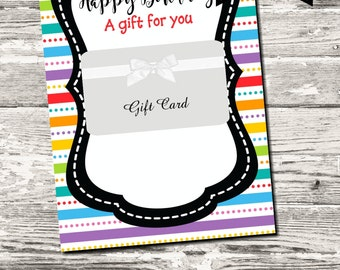 Instant Download Happy Birthday Gift Card Holder Rainbow Stripes Digital Printable