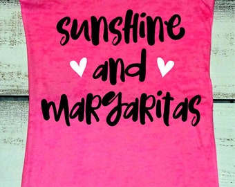 Summer Vacation Tank, Cruise Shirts, Sunshine and Margaritas, Beach Trip Shirt, Day Drinking Shirt, Swimsuit Cover Up, Bridal Party Tank