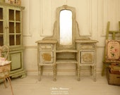 Miniature Chic French Shabby vanity, Distressed Gustavian gray, Collectible furniture in wood for a dollhouse in 1:12th scale