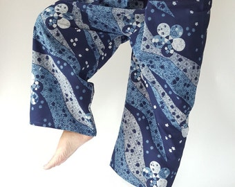 MH0015 ThaiHandmade Mo Hom Phare Indigo Thai Fisherman Pants Wide Leg pants, Wrap pants, Unisex pants (HM002)