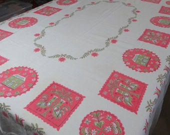 1960s Vintage Linen Tablecloth with Pink & Green Federal Folk Art Print, 48 x 65 Inch, Vintage Linens, 1960s Home Decor, Vintage Tablecloth