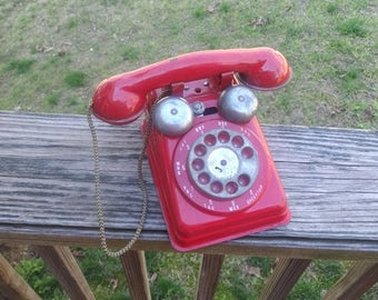 1950s Vintage RED Rotary Dial Toy Telephone with Outside Bell Ringers, Cotton Cord, by Steel Stamping Co., Vintage Phone, Vintage Toys