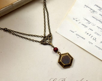Antique locket necklace honeycomb hexagonal unusual chains vintage Valentines day gift for her bordeaux antique bronze short