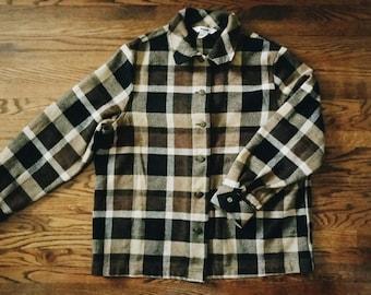 Vintage Brown and Black Plaid Long Sleeve Sweater