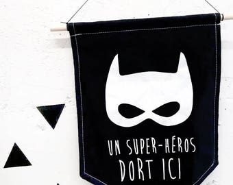 Hand printed banner,  Kids bedroom decor, A  Superhero sleeps here,  Room decor, nursery decor,  Superhero mask, Fabric banner, nursery