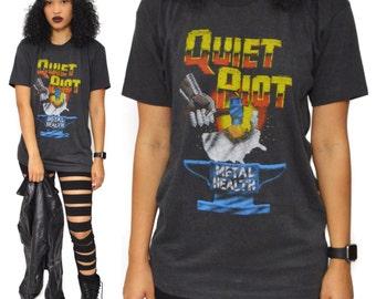 Vintage 80s Quiet Riot Metal Health Bang Your Head North American Tour Heavy Metal T Shirt Sz L