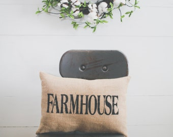 FARMHOUSE pillow, home pillow, home decor, burlap pillow, fabric pillow 14x9 accent pillow, farmhouse style