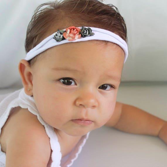 White Headband, Headband for Newborn, Orange Headband, Flowers Headband, Flower Headpiece, Flower Head band, Flower Headband Baby,