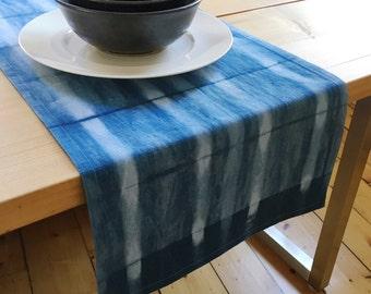 Indigo Shibori   Blue Table Runner   Hand Dyed   Cotton Linen   Housewarming