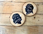 Hamilton Musical Inspired Rustic Wooden Coasters - Pair of Decoupaged Hamilton and Eliza Silhouettes on Reclaimed Wood with Musical Lyrics
