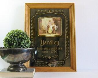 Yardley Fine Soap Makers - Vintage Framed Art Mirror - 13x18 Stamford Art - Advertising Art - Gold Glitter Typography Art - Bathroom Decor
