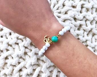 Mala Bracelet, Wrist Mala, Yoga Bracelet, Healing Bracelet, OM bracelet, Howlite Bracelet, White Bracelet, Yoga Gift, Beaded Bracelet, BMHJ