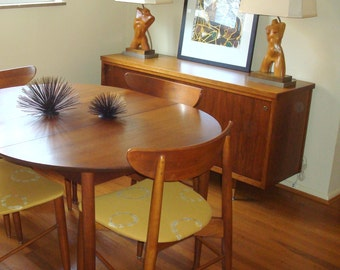 Pair of Rare Signed Heifetz Eames Era Wood Male Female Figure Table Lamps with Custom Silk Shades