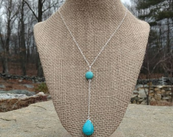 Siver Plated Turquoise Lariat Necklace