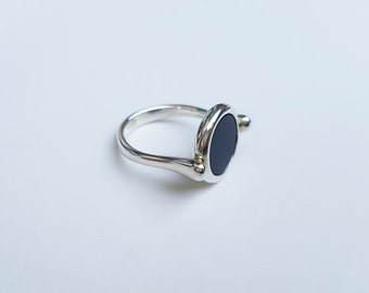 Black Onyx Silver Ring - Sterling Silver 925 - Onyx Gemstone - Elegant Ring - Handmade Jewelry - Authentic Black Onyx - Minimalist Ring