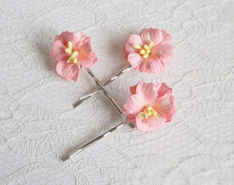 Pink Flower hair clips, pink apple blossom pins, wedding flower pins, pink flower hair accessory, summer hair clips
