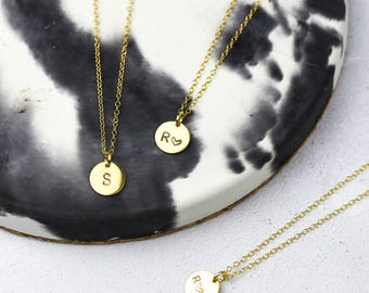 Gold Initial Disc Necklace, Custom Initial Necklace, Letter Necklace, Personalized Jewelry, Initial Pendant, Personalised Pendant