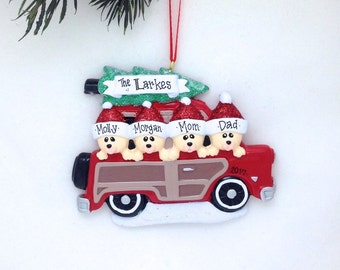 FREE SHIPPING Personalized  4 Family in Car with Christmas Tree / Personalized Christmas Ornament / Family Ornament / Custom Names, Message