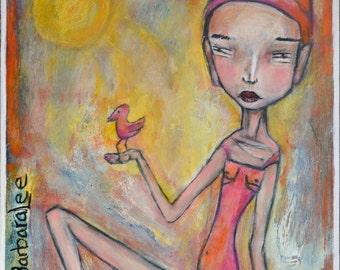 Original Acrylic Painting, Wood Cradled Panel Board Painting, Portrait Painting, Folk Art,Figurative Painting,  Primitive Art, Contemporary