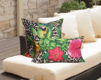 12x20 Tropical Jungle pillow cover, animal print pillow, pink flower pillow, lumbar pillow cover. outdoor lumbar pillow cover