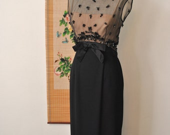 SALE - 1960s Black Beaded Sheer Dress - Small