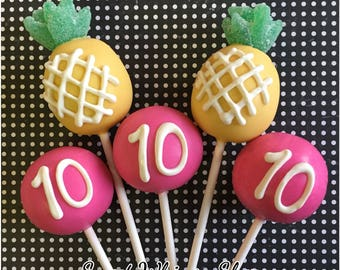 24 Pineapple & Hot Pink Cake Pops for birthday, pool party, summer, Hawaii, luau, beach, bridal shower, baby shower, tropical fruit, wedding
